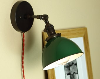 Industrial, Articulating Wall Sconce Lighting - GREEN Porcelain Enamel Shade - Hand Finished in Oil Rubbed Bronze