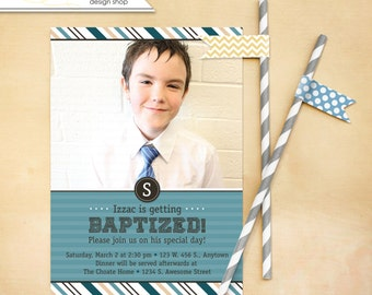 LDS Baptism Invitation Boy Invite - Digital File
