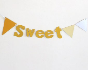 Sweet Bunting Banner, Paper Bunting Banner, Baby Nursery Decoration, Yellow Ombre Decor, Short Wall Hanging, Fade to White