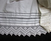 Vintage  White Lace and  Cotton  Fabric for Repurposing, Victorian Fabric, Vintage Lace