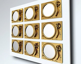 Play - Technics Turntable Inspired Mirror Sculpture - Gold & White  - Original Contemporary British Art