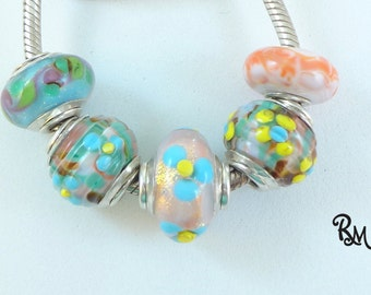 Lampwork Big Hole Bead Set  ' Summer Bouquet'