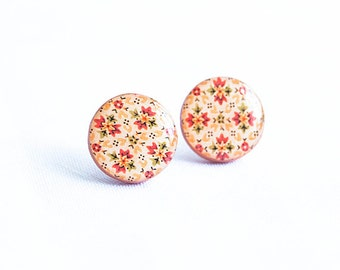 Big stud earrings orange post earrings