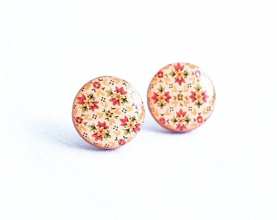 Big stud earrings orange post earrings