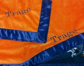 Personalized Denver Broncos Football Fleece and Minky Baby Blanket