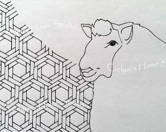 Original Art Greeting Card / Sheep / Chinese Zodiac Sign / Blank inside / with Envelope