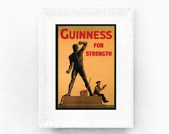 Guinness For Strength Print Original Advertisement Book Plate 7.25 x 10.5 inches Ireland Brewerania Advert Pint Gilroy Illustration
