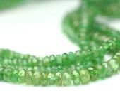 Tsavorite Garnet Micro Faceted Rondelles Semi Translucent Green Semi Precious Gemstone January Birthstone