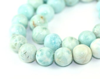 Larimar Smooth Round Beads 2 Aqua Blue White Cream Exotic Gemstones