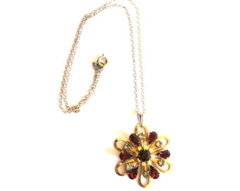 Necklace Brass Red Clear Rhinestone Flower 1950s