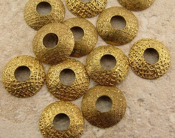 BHB Caps, Etched Brass Bead Caps, Chex Mix Mesh, 1 pair (2 caps), 15mm with 5mm hole