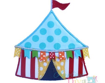 Circus Tent with Ribbon flags Digital Embroidery Design Machine Applique