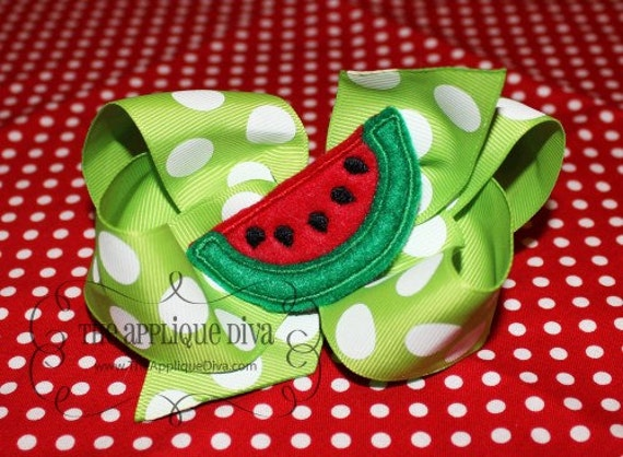 Summer Watermelon Bow Centers Embroidery Design Machine Applique