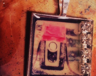 TTV vintage dueflex camera Art Pendant. Mini Photo Print necklace, strange square Charm with Rhinstones. Black Lodge Jewelry