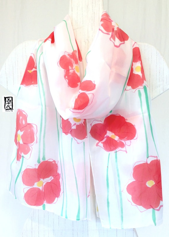 Large Silk Scarf Handpainted, Red and White Scarf, Gift for Women, White Scarf, Sweet Red Poppies Scarf, Silk Scarves Takuyo, 14x72 inches.