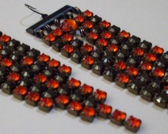 Fireopal Earrings Black Earrings 5 Inch Chain Earrings Shoulder 5 Inch Duster Earrings Long Rhinestone Chain Earrings Orange Earrings
