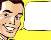 Retro Cartoon Comic  Man Talk Balloon - Vintage Art Illustration - Digital Image - Instant Download