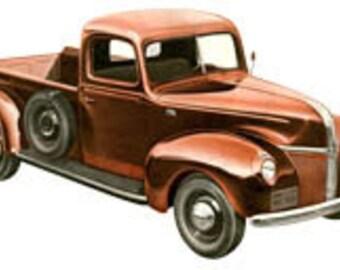 Vintage Little Red Truck - Digital Image - Art Illustration - Instant Download