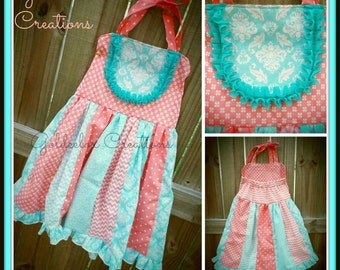 Halter Dresses in Fabric Strips Style with Ruffle Hem for Girls - Made To Order