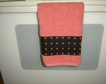 Orange hand/dish towel w/orange polka dots on black background fabric panel, 100% cotton terry towel, soft, absorbent, Halloween fall decor