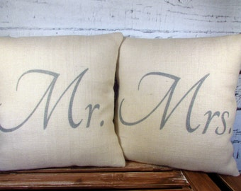 Mr Mrs Burlap pillows  -  metallic silver lettering