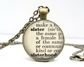 Sister Necklace: Bridesmaids Gift. Gift for Her. Sister Jewelry. Definition Necklace. Dictionary Pendant. Handmade Jewelry. Lizabettas