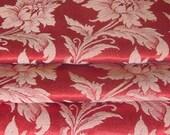 "Vintage Curtain Pair, Hollywood Red Satin Brocade, 19"" w. at top x 35""w. at bottom x 80"" long"