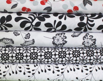 Black White and Cherry Fabric Bundle -  Fat Quarter Bundle - 5 fat quarter pieces (B269)