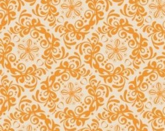 SALE - Mint to Be - Orange Rococo Cotton Print Fabric from Camelot Cottons