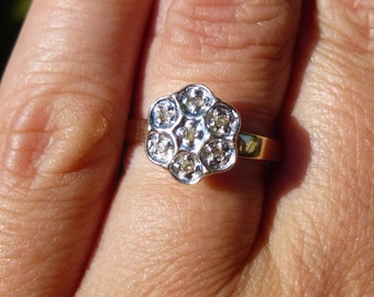 Classic flower yellow and white gold with diamonds engagment ring so 1960s