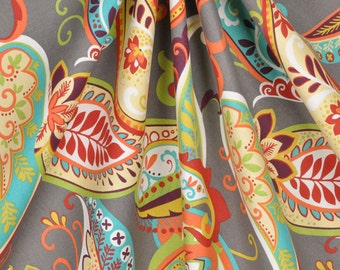 "Curtain Panels Paisley Multi Color Covington Whimsy Curtain Panels Pair 50"" Wide by 63"",84"",90"" 94"",96"",108"""