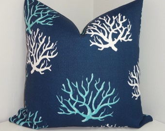OUTDOOR Blue Navy White Coral Print Pillow Cushion Covers Coral Porch Decorative Pillows Three Sizes