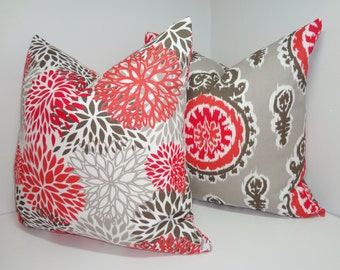 OUTDOOR Pillow Cover Set Suzani & Mums Floral Salmon Taupe Deck Patio Pillow Cover 18x18