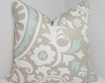 Grey & Powder Blue Suzani Pillow Cover Decorative Pillow Cover Choose Size