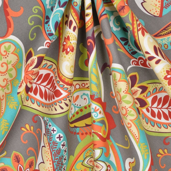 Curtain Panels Paisley Whimsy Grey Turquoise Orange By