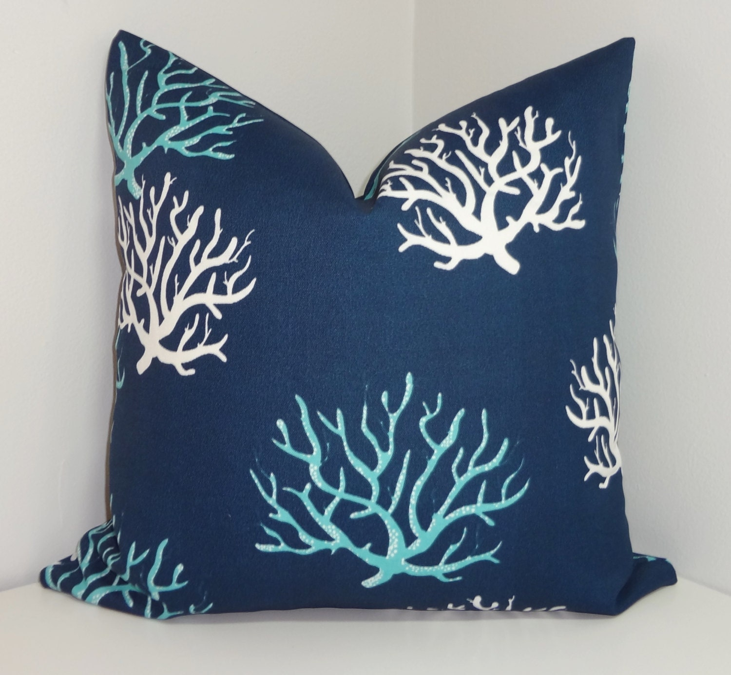 OUTDOOR Blue Navy White Coral Print Pillow Cushion by