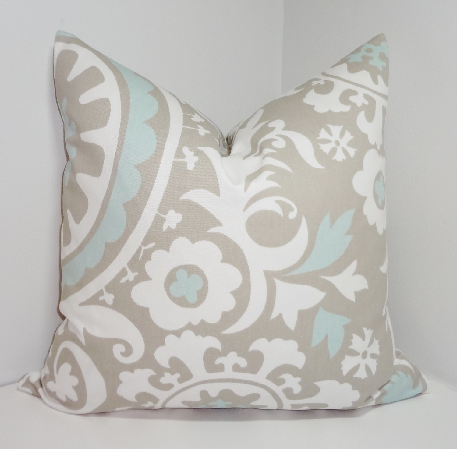 Powder Blue Decorative Pillows : Grey & Powder Blue Suzani Pillow Cover Decorative by HomeLiving