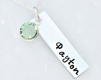 Personalized Necklace - Name Necklace - Rectangle Necklace - Hand Stamped Necklace - Birthstone Necklace - Mothers Day