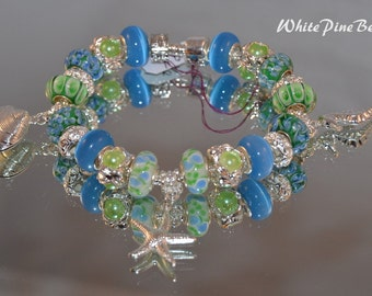 BY THE SeA  European Charm Bracelet Blue Green Handmade with Murano Lampwork Glass Beads by WhitePineBeads