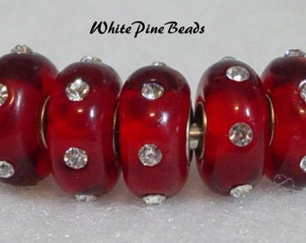 Red with Clear Crystals Murano Glass Bead Fits European  Style Bracelets