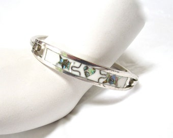 1970's Sterling Silver Taxco Bracelet, 925, abalone, inlaid, hinged bangle, gift idea, Excellent