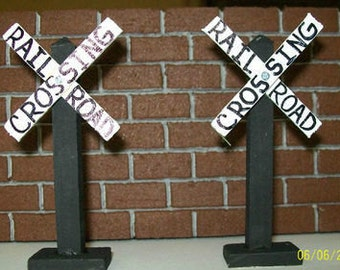RAILROAD CROSSING SIGNS / Train Layouts / Railroad Tables / Train Themed Party Favors - Set of 2
