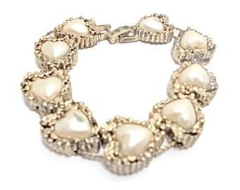 Vintage Slider Bracelet Faux Pearl Hearts 1960s Bridal Wedding Jewelry