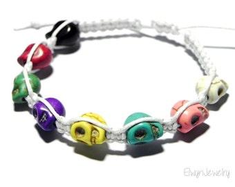 Unisex Knot Bracelet, Skull Heads, Cord, Multicolor, Colorful Bracelet, Rope Bracelet, Macrame Bracelet, Stacking Bracelet, Kids Jewelry