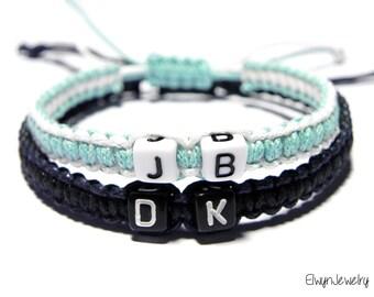 Matching Bracelets, Personalized Couples Bracelets, His Hers Bracelet, Friendship Bracelet, Long Distance Love, Cord Bracelet, Name Bracelet