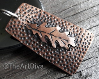 Copper Necklace - Recycled Copper Oak Leaf Pendant - Sawn - Hammered - Raised - Antiqued - Copper Pendant