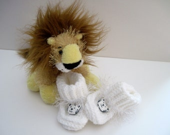 Tiger Crochet Baby Booties - White with White Tiger Buttons and Fuzzy Fur Trim - 3 to 6 Months