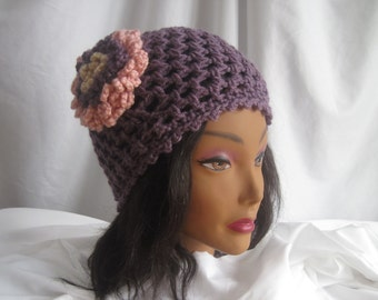Hat Womans Mauve Crochet Hat with Pink Loopy Flower Applique Stylish, Chic, Trendy and Lacy Cap Handmade Fashion Accessory