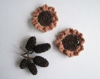 2 Crochet Flowers - Brown with Copper Ruffles - Set of 2