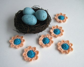 6 Thread Crochet Flowers - Cone Centers with Pedals - Aqua Turquoise and Peach (Set of 6)